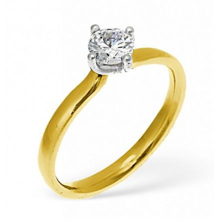 18K Gold 0.25ct Diamond Solitaire Ring, SR02-25PKY